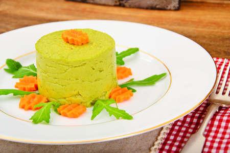 Puree Pate Broccoli, Pumpkin and Carrot. Studio Photo Stock Photo