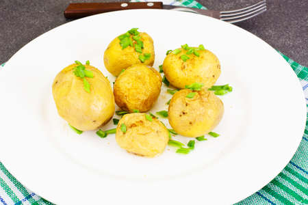 Potatoes with Butter and Green Onion Studio Photo