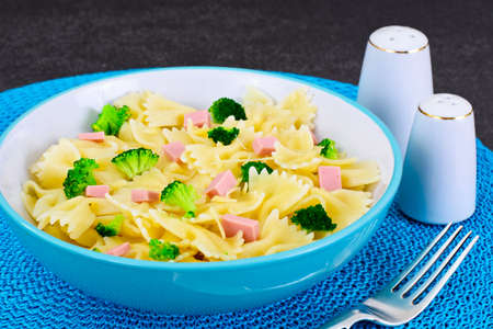 Pasta, Sausage and Broccoli Diet Food Studio Photo Stock Photo