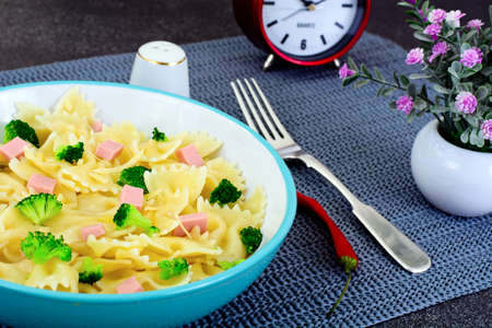 Pasta, Sausage and Broccoli Diet Food Studio Photo Stock Photo