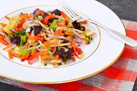 Healthy, diet: Mushrooms mun, bamboo shoots, soy sprouts, peppers and leeks with squid. Studio Photo