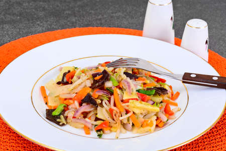soy sprouts: Healthy, diet: Mushrooms mun, bamboo shoots, soy sprouts, peppers and leeks with squid. Studio Photo
