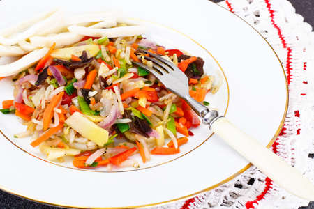 soy sprouts: Healthy, diet: Mushrooms mun, bamboo shoots, soy sprouts and peppers, leeks with squid. Studio Photo