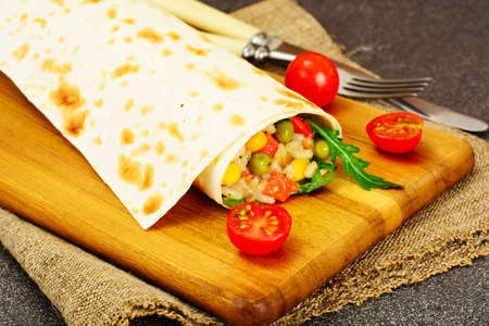 spit: Burrito, Shawarma Lavash with Chicken and Vegetables Studio Photo