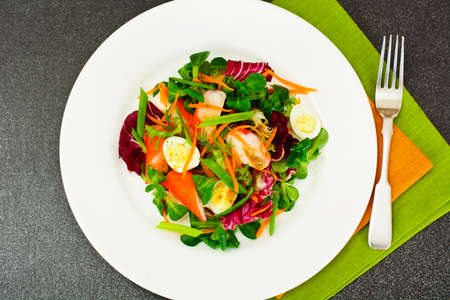 escarola: Frise Corn Salad with Chicory, Escarole, Crab Sticks and Quail Eggs EPS10
