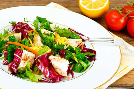 Salad Mix Batavian, Frise, Radicchio, Chicory  Chicken Dietary Meal Stock Photo