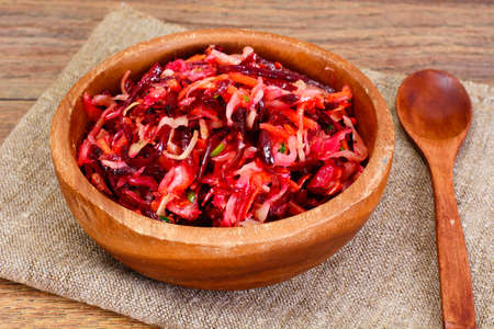 Salad of Beets and Carrots with Sauerkraut, Spices Studio Photo Stockfoto