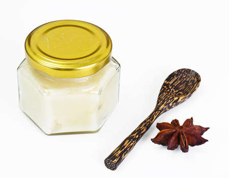 Glass Jar with Cream Honey Bee Studio Photo Stock Photo