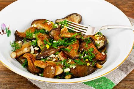 Fried Oyster Mushrooms Studio Photo Stock Photo