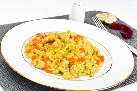 creole: Healthy Food: Pilaf with Meat and Rice. Studio Photo