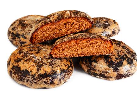 freshly prepared: Freshly prepared delicious Gingerbread Isolated on White Background. Studio Photo Stock Photo