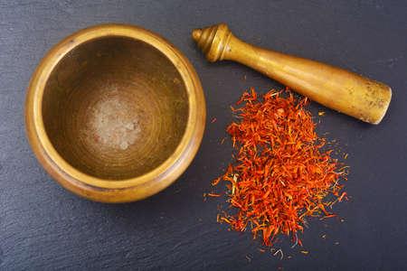 christmas grounds: Seasoning for cooking healthy food: Saffron. Studio Photo