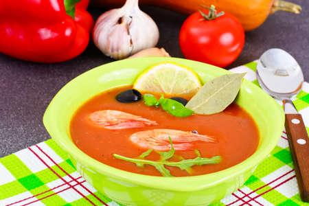 Tomato Soup with Shrimps Diet Food Studio Photo