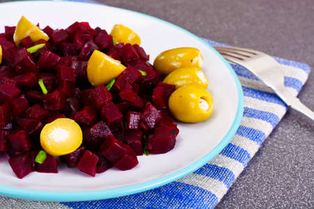 beets: Salad of Beets and Olives. Studio Photo Stock Photo