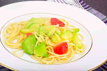Spaghetti with Zucchini, Tomatoes, Parmesan Cheese, Garlic Studio Photo