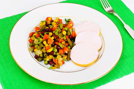 Mexican Mix of Vegetables. Tomatoes, Beans, Celery Root, Green Beans, Peas, Corn. Dietary Food Stock Photo