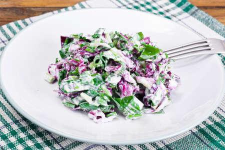 Lettuce, Radicchio and natural low-fat yogurt. Dietary meal Studio PHoto