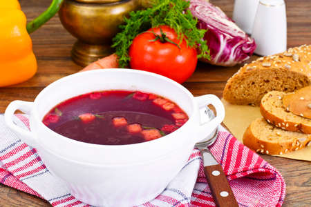 Healthy Food: Soup with Beets, Tomato and Vegetables. Studio Photo