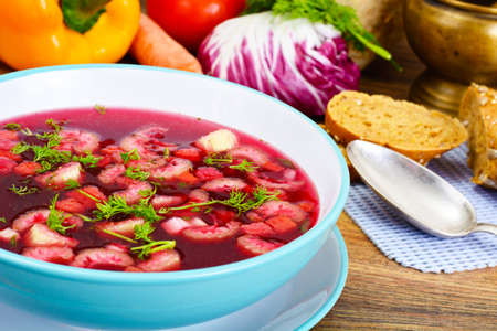nesting: Soup from Beet, Tomatoes and Celery Studio Photo