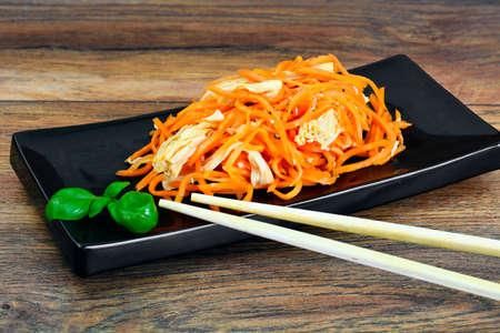 Carrot salad, salt, sugar, onion, garlic, vegetable oil, balsamic vinegar Studio Photo Stock Photo