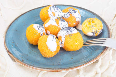 Sweet Cheese Balls Donuts Studio Photo Stock Photo