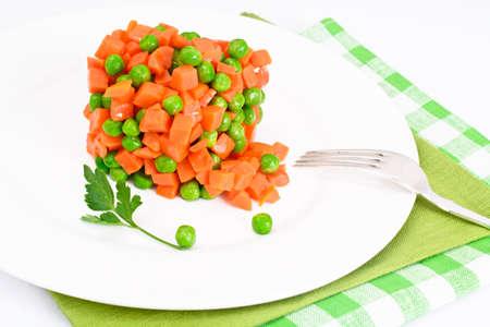 Juicy Vegetable Stew. Lettuce, Peas and Carrots. Diet Food. Studio Photo Stock Photo