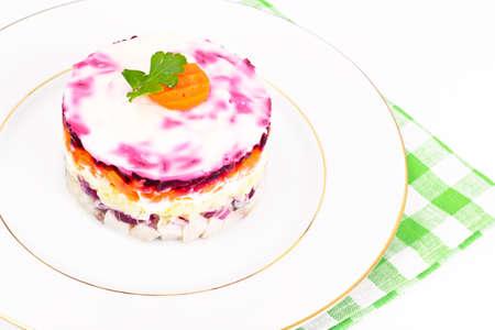 Russian Salad Coat of Beets, Carrots, Potatoes and Herring Studio Photo
