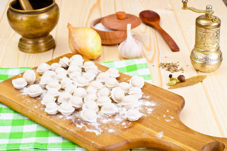 tortellini: Homemade Dumplings, Russian Pelmeni Studio Photo Stock Photo