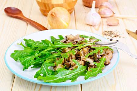 Salad and Arugula and Fried Oyster Mushrooms Studio Photo