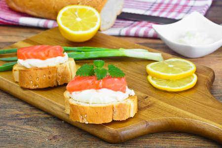Bruschetta with Cream Cheese and Salmon Studio Photo