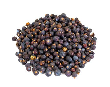 enebro: Dried Fruits of Juniper, Seasoning Isolated on White Background Studio Photo