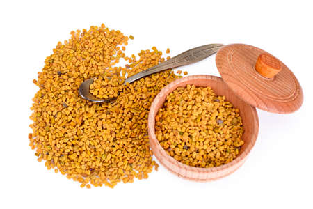 Fenugreek Seasoning Isolated on White Background Studio Photo
