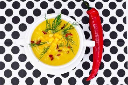 comfort food: Soup of Mashed Potato with Corn Studio Photo