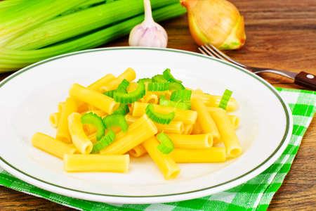 Pasta with Celery. Dietary Dishes Studio Photo Stock Photo