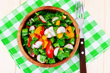tomate ensalada: Spinach Salad with Leek, Radish, Tomato, Pepper and Vegetable Oil Foto de archivo
