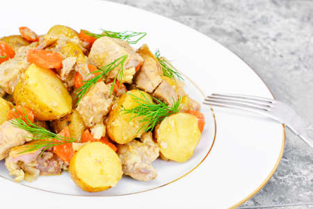 membrillo: Stewed Quince with Potatoes, Carrots, Onions and Meat Studio Photo