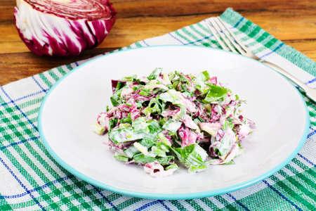 mediterranean culture: Lettuce, Radicchio and natural low-fat yogurt. Dietary meal Studio PHoto