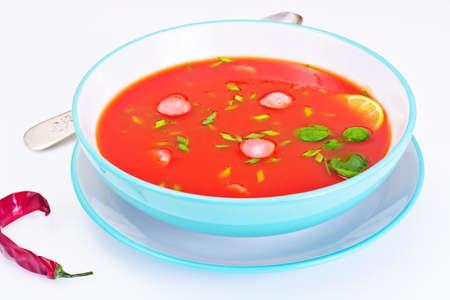 Tomato Soup in Plate. National Italian Cuisine. Studio Photo