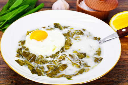 sorrel: Sorrel Soup with White Egg Studio Photo