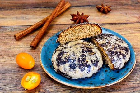 freshly prepared: Freshly prepared delicious Gingerbread, Honey Cake. Studio Photo
