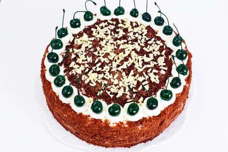 bing: Schwarzwald Cake, Whipped Cream, Black and White Chocolate, Decoration, Green Cocktail Cherry Studio Photo