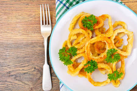 calamares: Rings of Squid Fried, Grilled Studio Photo