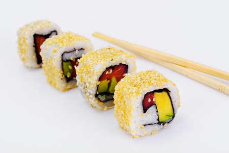 Sushi Alaska Isolated on White Background. Studio Photo Stock Photo