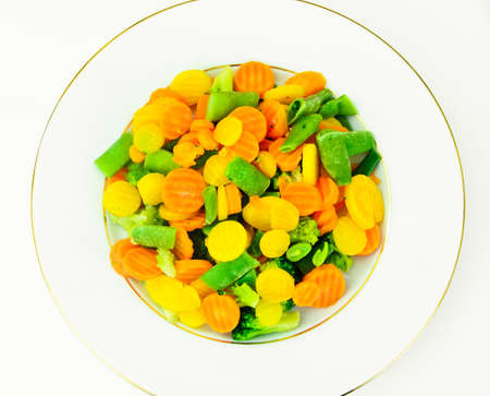 Steamed Vegetables Potatoes, Carrots, Corn, Green Beans, Onion Studio Photo