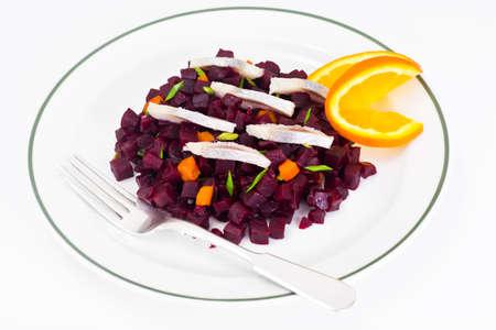 Beetroot Salad with Herring Studio Photo Stock Photo