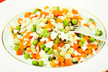 Risotto with Vegetables, Carrots, Peas Studio Photo Stock Photo