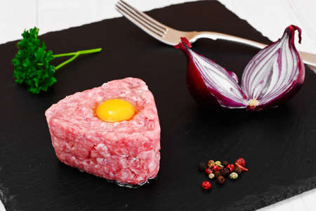 caper: Fresh Meat with Egg Tartar Studio Photo