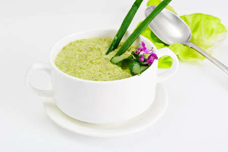 tureen: Cream of Celery Stalk in a White Tureen Studio Photo Stock Photo