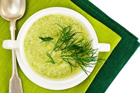 Cream of Celery Stalk in a White Tureen Studio Photo Stock Photo