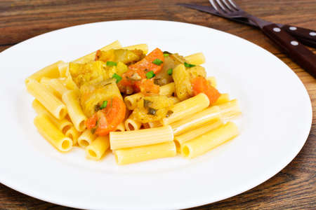 Pasta with Stewed Vegetables on Plate Studio Photo Stock Photo